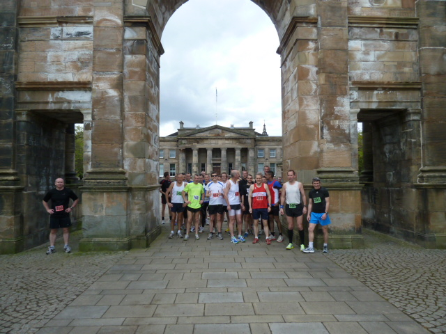 The race start under McLennan Arch, Glasgow Green